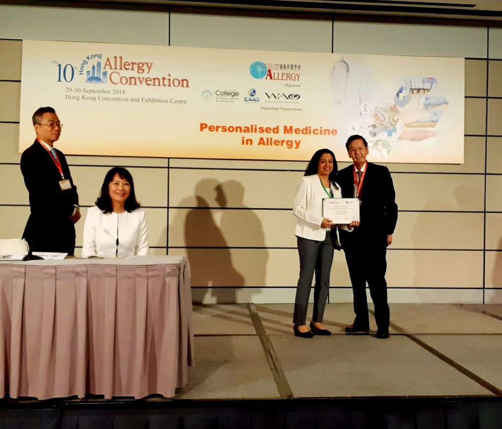 Best Research (Clinical) Poster Presentation Award 10th Hong Kong Allergy Conference, 29th September 2018