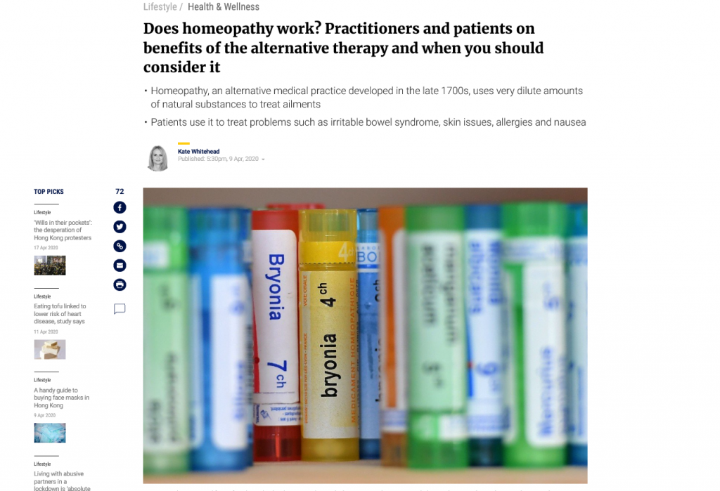 Does homeopathy work? Feature in South China Morning Post